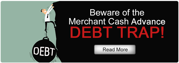 """Man with ball and chain on his leg that says """"Debt"""" struggles to hold on a cliff with the title """"Beware of the Merchant Cash Advance Debt Trap!"""""""