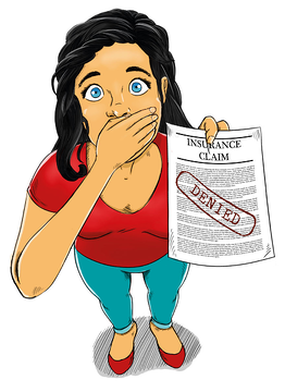 Woman covering her mouth in disbelief that her homeowner's insurance claim was denied