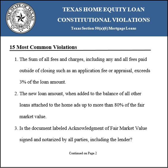 Texas Home Equity Loan Test
