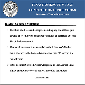 Texas Home Equity Loan Test