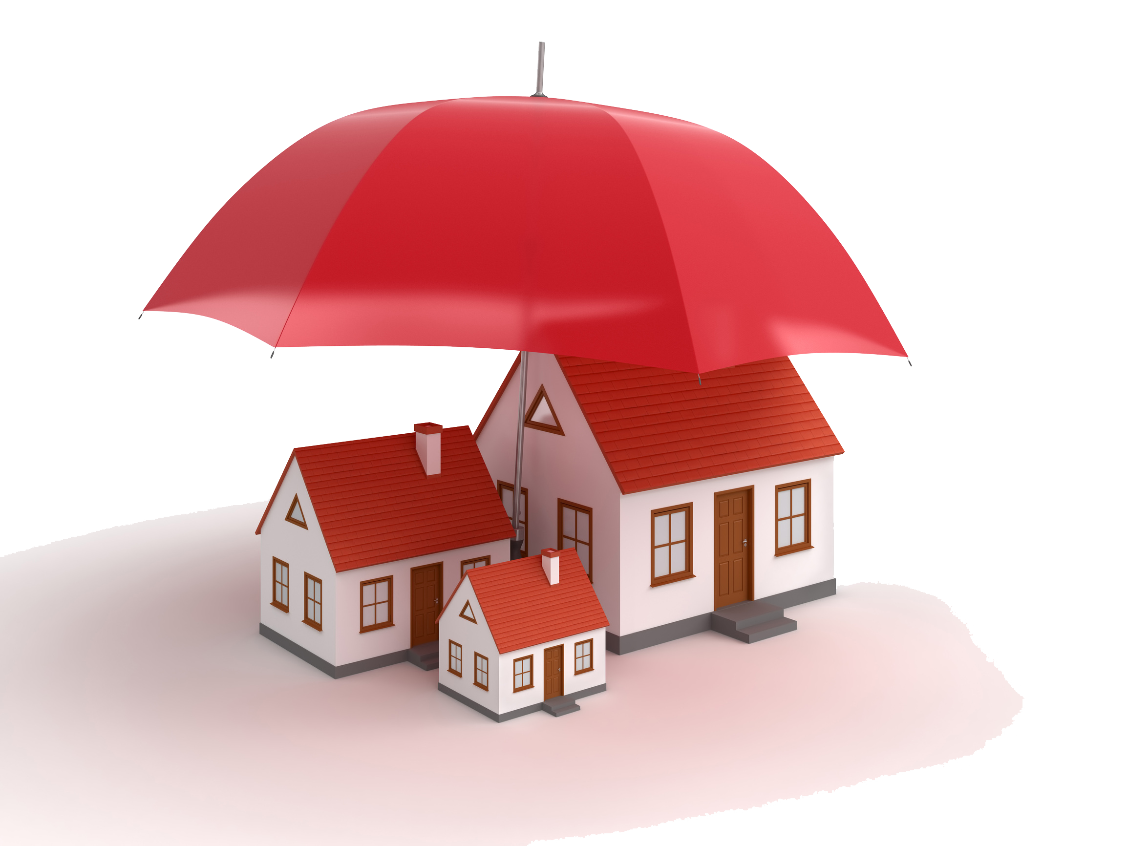 Set of three minature houses covered by one large red umbrella