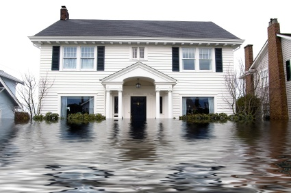 House with floodwaters all around it