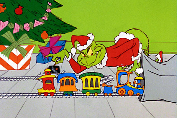 Cartoon Grinch stealing toys from under a Christmas Tree